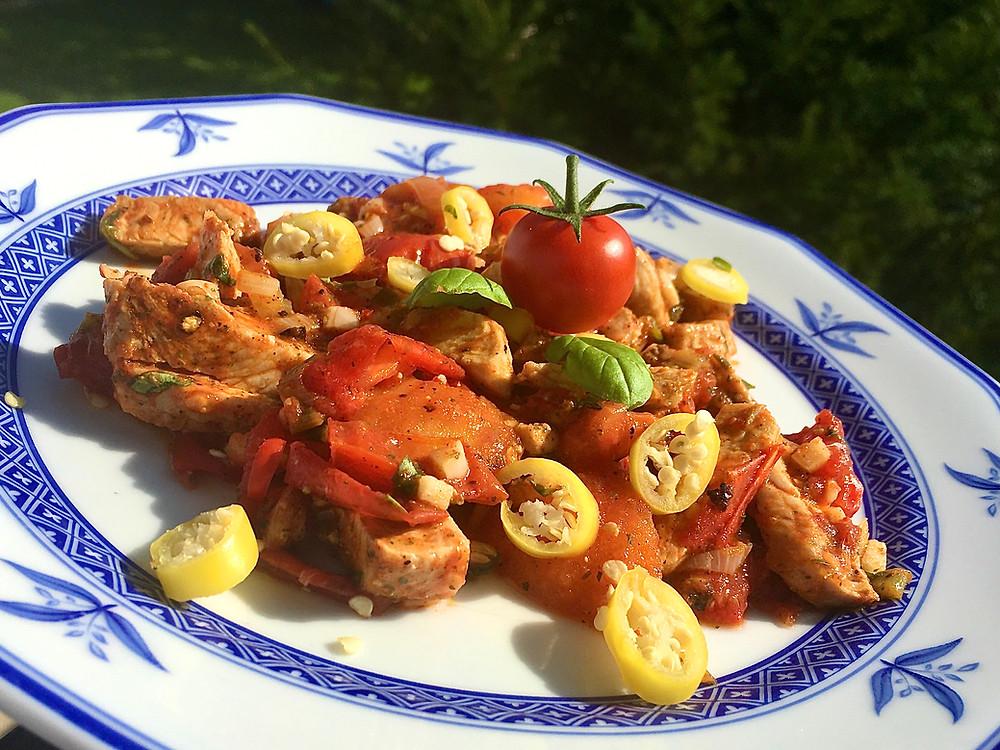Puten-Tomaten-Pfanne (grün)