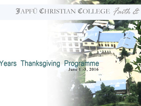 20th Year Thanksgiving Programme