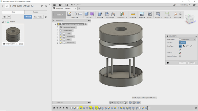 We are well on our way into the development of GPA Prototype 1. Fusion 360's rotational symmetry feature turned out to be super helpful. Mock-up 2 will feature a movable centre ring and a mysterious surprise :)