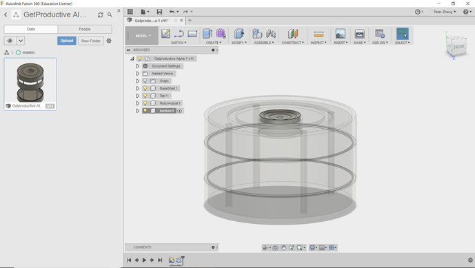 We are making the switch to Autodesk's Fusion 360! This is a much more capable CAD software that we'll be using from now on, starting with our first functional prototype –– oh look, this transparent view is actually pretty cool!