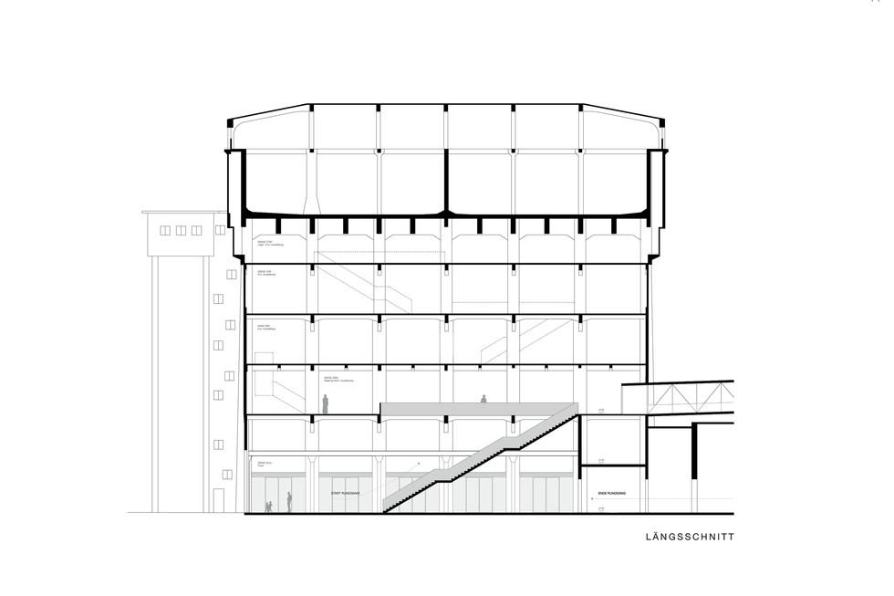 Wettbewerb neue Eingangssituation Völklinger Hütte über Wasserhochbehälter Längsschnitt © Thomas Stadler