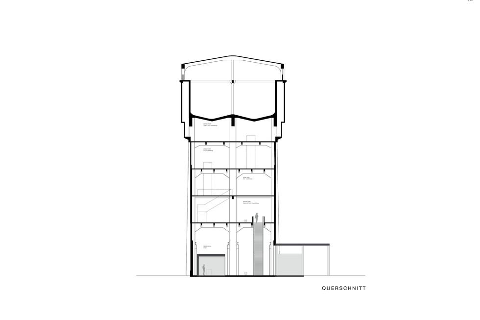 Wettbewerb neue Eingangssituation Völklinger Hütte über Wasserhochbehälter Querschnitt © Thomas Stadler