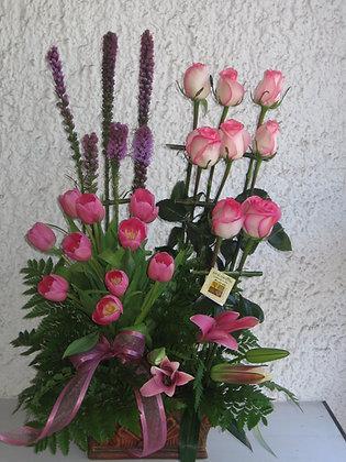 Tulipanes y Rosa