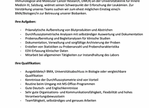 Job opening for biobanking at the Salzburg Cancer Research Institute