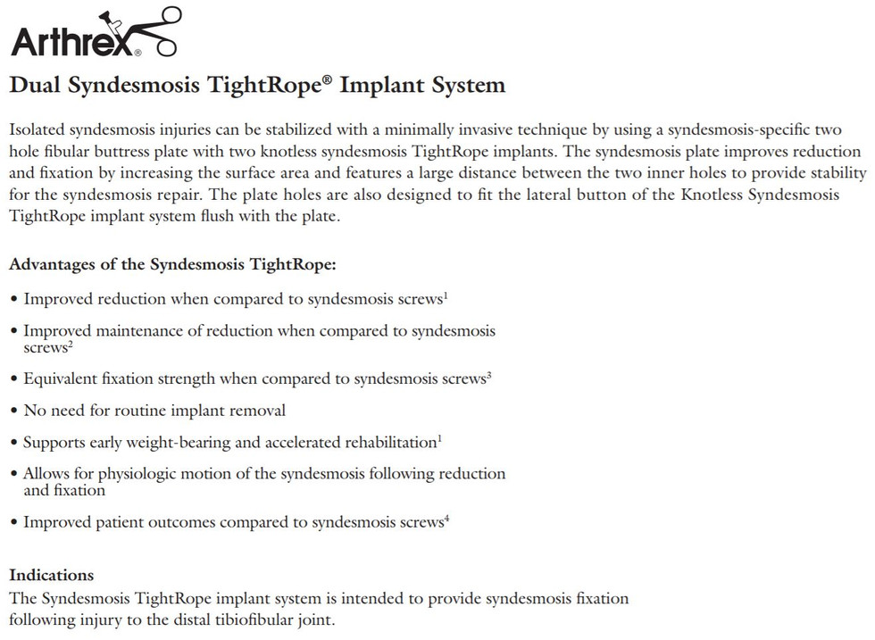 Dual Sydesmosis TightRope Implant System