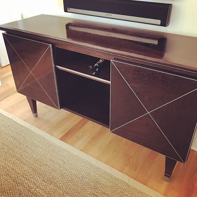 #wenge console piece with metal inlay finished, designed by _maxeyhayse