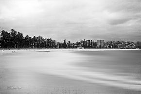 Manly beach photograph in black ad white.