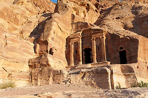 Photograph of the ancient city of Petra in Jordan.