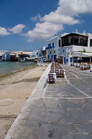 Restaurants on the seaside in Mykonos, Greece.