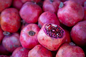 Close-up photograph on pomegranates on a street market, in Istanbul, Turkey.