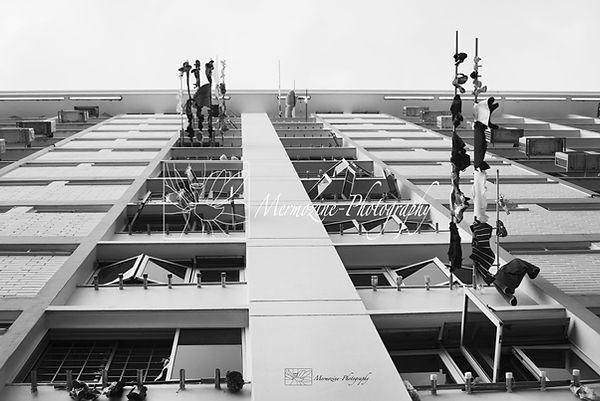 Singapore heartlands: clothe lines black and white