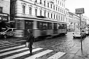 Black and white street photography of Milan, Italy.
