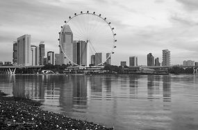 Black and white photograph of the ferris wheel of Singapore