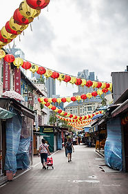 Picture of a street of chinatown before the opening of the shops, Singapore.