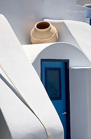 Photograph of details of architecture in the greek island of Santorini.