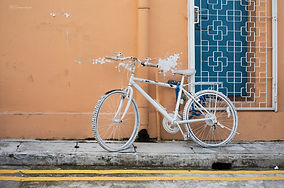 A painted bike in the streets of Kampong Glam, Singapore.