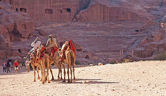 Photograph of a small group of nomads riding camels in Petra, in Jordan.