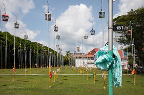 Picture of bird cages in the Kebun Baru Birdsinging Club, Mayflower, Singapore.