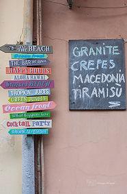 Street signs in Riomaggiore, Cinque terre, Italy.