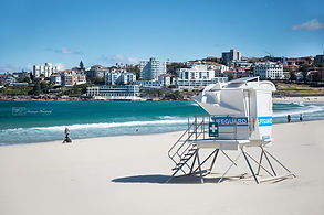 Lifeguard cabin on Bondi Beach, Australia.