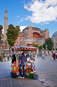 Photograph of a street vendor in front of Hagia Sophia, in Istanbul, Turkey.