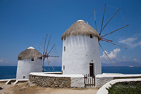 Photograph of Mykonoss and its famous windmills, Greece.