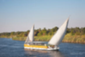 Photograph of a sail boat cruising on the Nile river, in Egypt.
