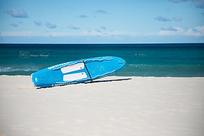 Surfing board on Bondi beach, Australia.