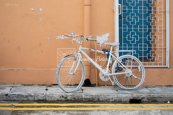Painted bike in the streets of Kampong Glam, Singapore.