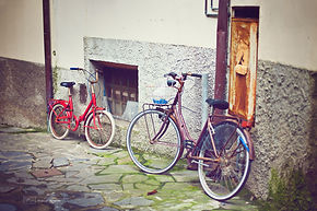Bikes in Monterosso a mare, Cique terre, Italy.