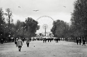 Black and white photograph of the ferris wheel of Paris