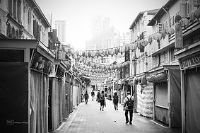 Black and white picture of Pagoda street, in Chinatown, Singapore.