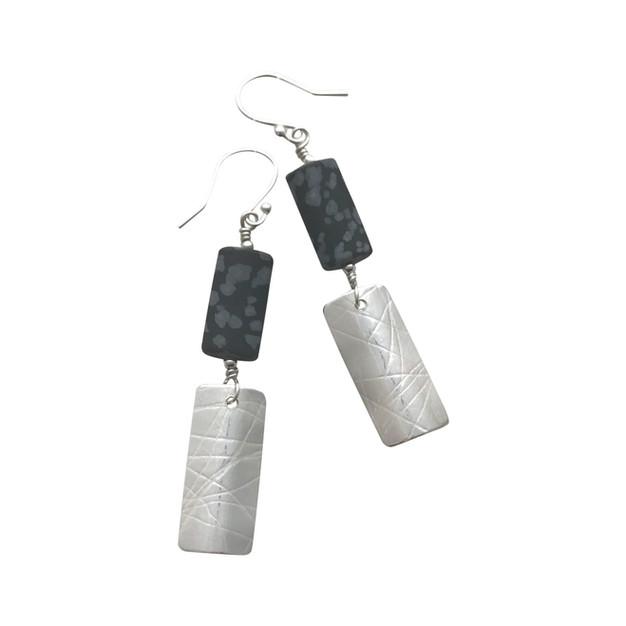 Swaged double earrings - long silver dro