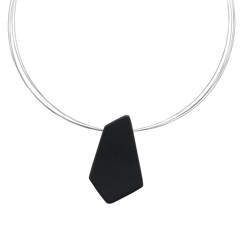 Mirror Mirror pendant (charcoal Jesmonite) on wire.
