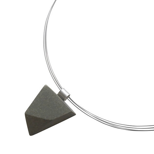 'Facetted' Jesmonite pendant (light grey) on wire
