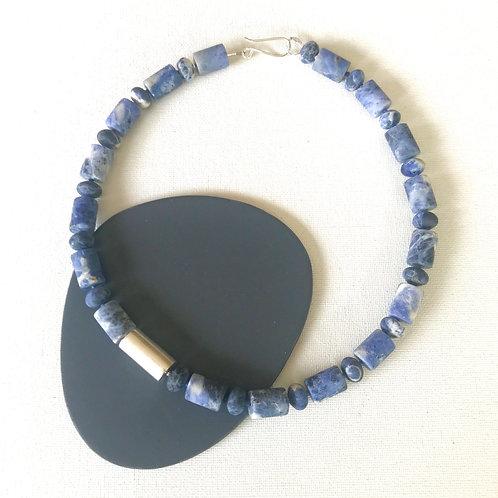 Cylinder necklace - Matt Sodalite