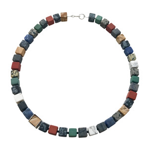 Framed Cube necklace - mixed gestones