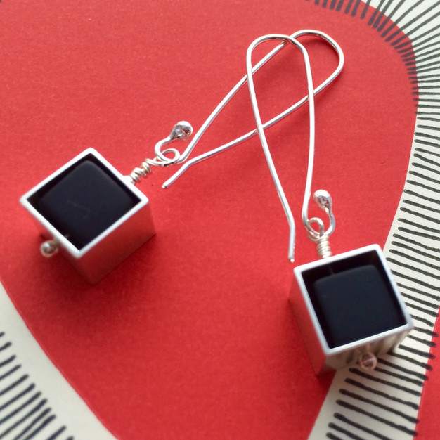 Framed Cube earrings - long