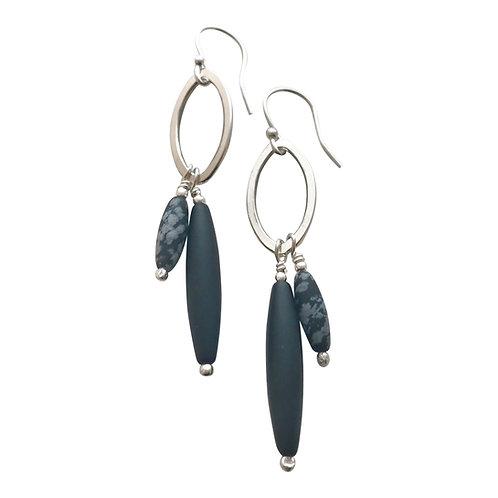 Olivine double link earrings