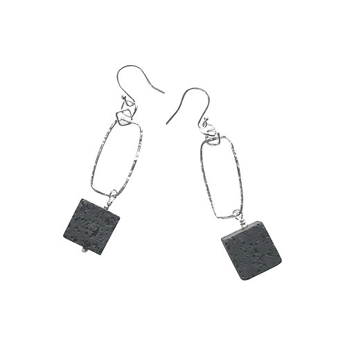 Cube earrings - Silver and Lava