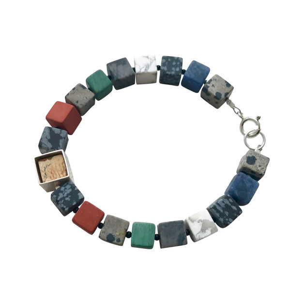 Framed Cube bracelet - mixed gemstones