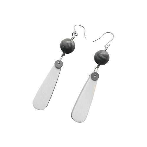Long earrings with Jesmonite teardrop