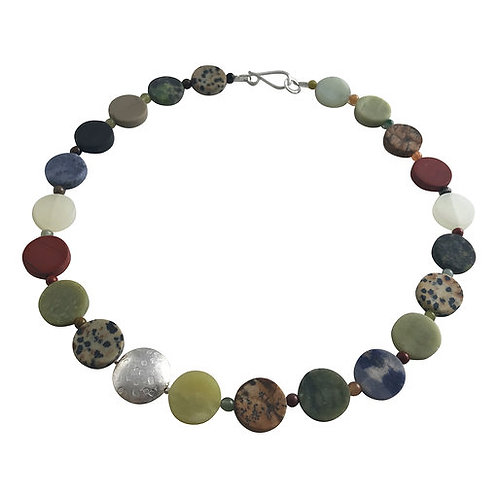 Coin necklace - mixed stones
