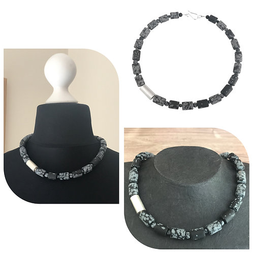 Cylinder necklace - Snowflake Obsidian