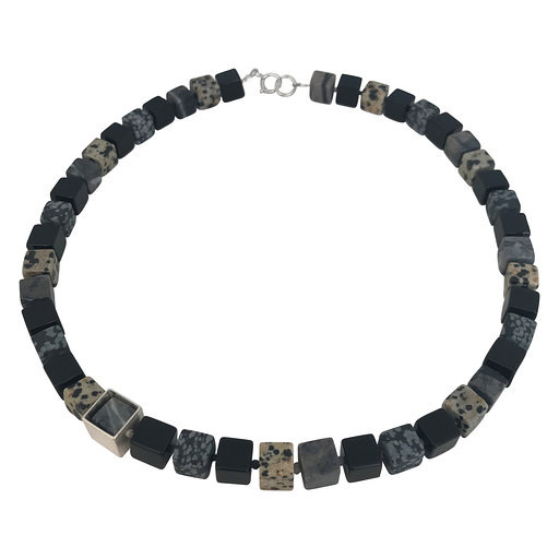 Framed Cube necklace - black and grey stones