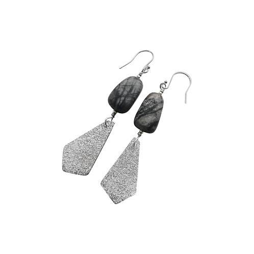 Mirror Mirror earrings -Black Line Jasper