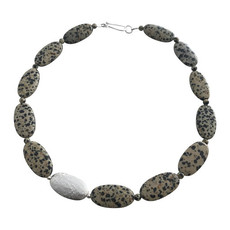 Oval necklace Silver and Dalmatian Jaspe