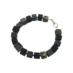 Framed Cube bracelet - black and grey stones