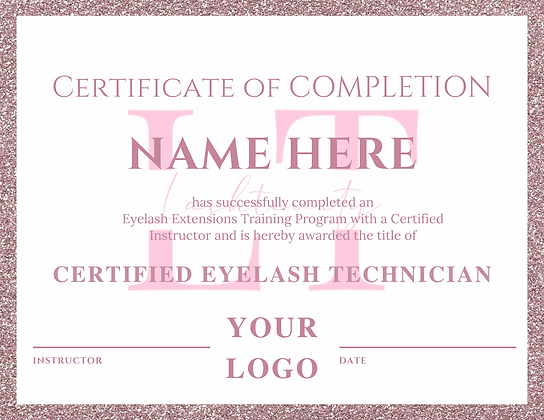 Light Pink Glitter Certificate of Completion