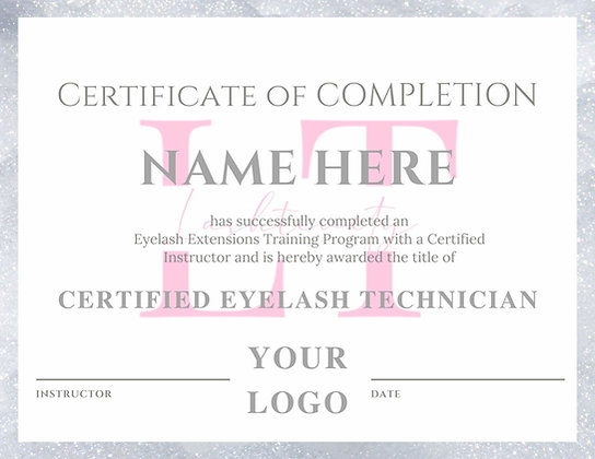 Silver Glitter Certificate of Completion
